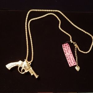 Betsey Johnson crystal revolver pistol necklace